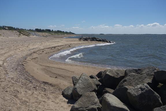 Sandstranden former sig karakteristisk i bløde buer bag bølgebryderne, som gør deres arbejde og opfanger sedimenterne. (Foto: Peter Jessen)