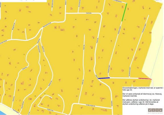 På stykket af Havtjørnevej, der er markeret med rødt, vil der fra uge 32 være gravearbejder. Vejen vil være spærret, og trafikken til Klokkelyngen/Hedelyngen henvises til Harevej via interimvejen, som på kortet er markeret med blåt. På det grønne stykke af Hedelyngen bliver foretaget styret underboring.